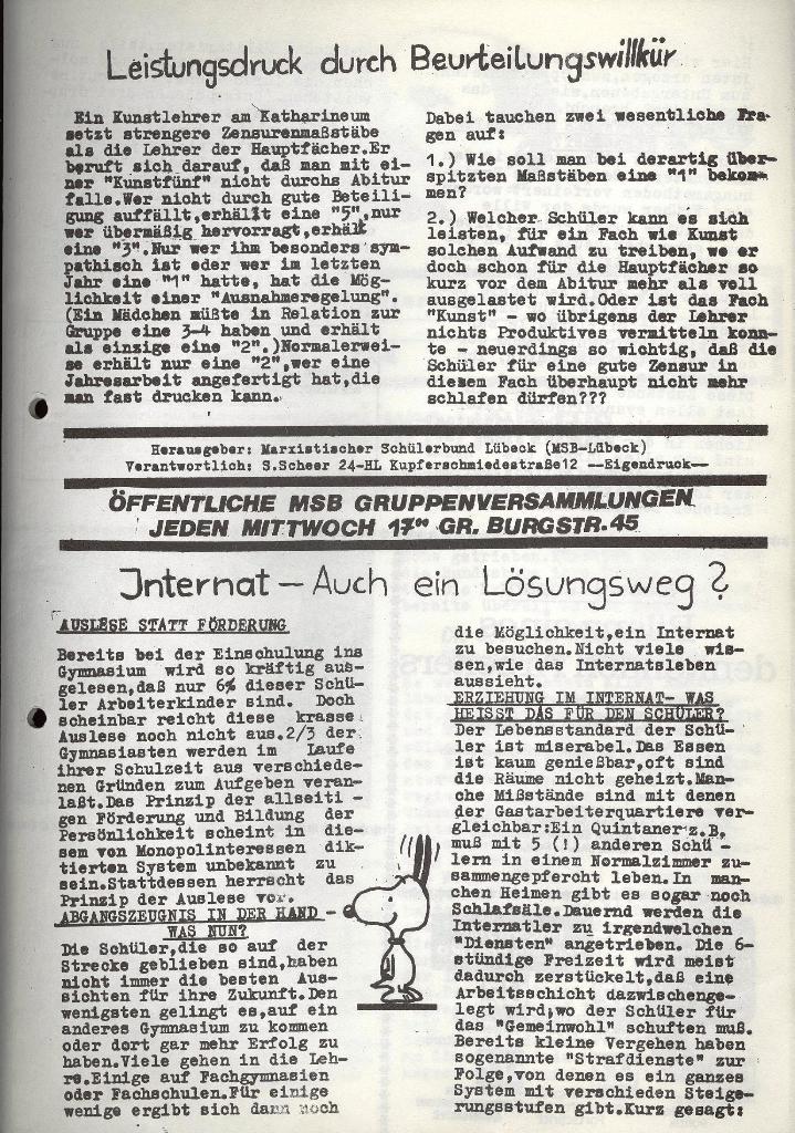 Marxistischer Schülerbund: Info, 3. Jg., Nr. 4, Lübeck, Februar 1973, Seite 3