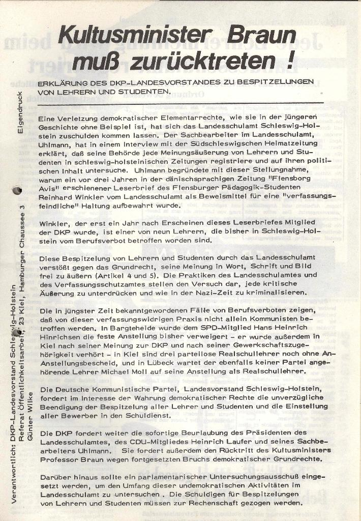 Marxistischer Schülerbund: Info, 3. Jg., Nr. 4, Lübeck, Februar 1973, Beilage 1, Seite 1
