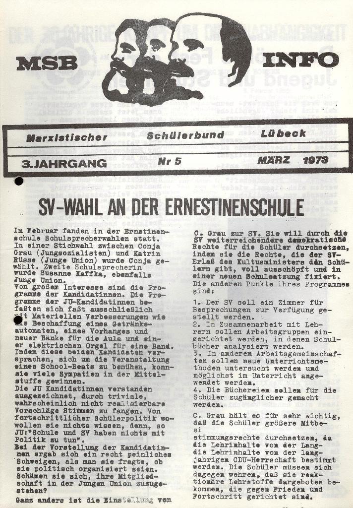 Marxistischer Schülerbund: Info, 3. Jg., Nr. 5, Lübeck, März 1973, Seite 1