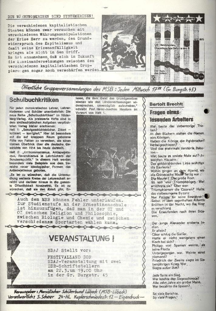 Marxistischer Schülerbund: Info, 3. Jg., Nr. 5, Lübeck, März 1973, Seite 6