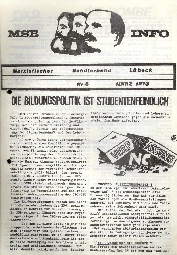 Marxistischer Schülerbund: Info, 3. Jg., Nr. 6, Lübeck, März 1973, Seite 1