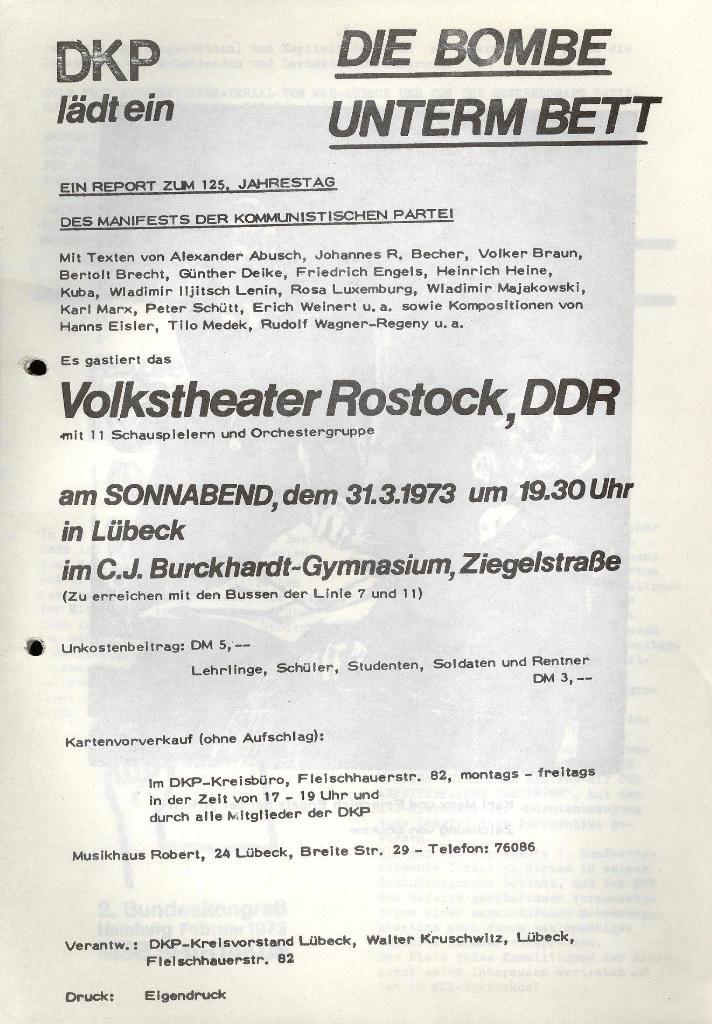 Marxistischer Schülerbund: Info, 3. Jg., Nr. 6, Lübeck, März 1973, Beilage, Seite 1