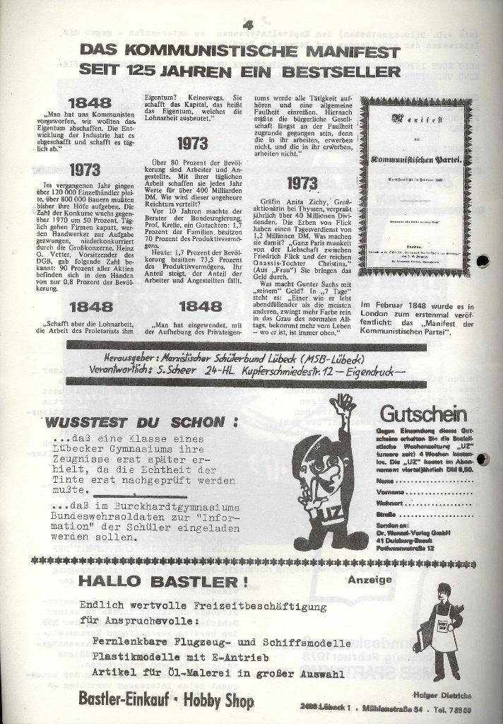 Marxistischer Schülerbund: Info, 3. Jg., Nr. 6, Lübeck, März 1973, Seite 6