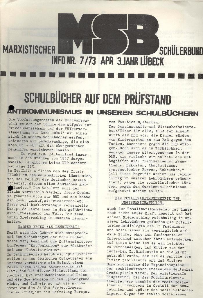 Marxistischer Schülerbund: Info, 3. Jg., Nr. 7, Lübeck, April 1973, Seite 1