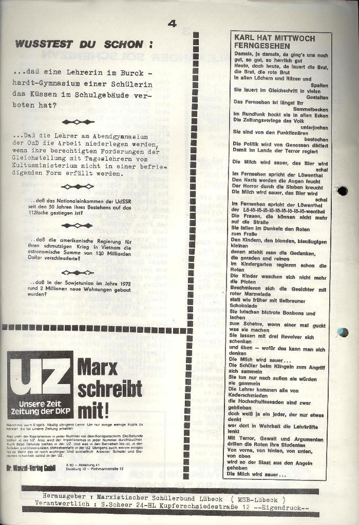Marxistischer Schülerbund: Info, 3. Jg., Nr. 7, Lübeck, April 1973, Seite 4