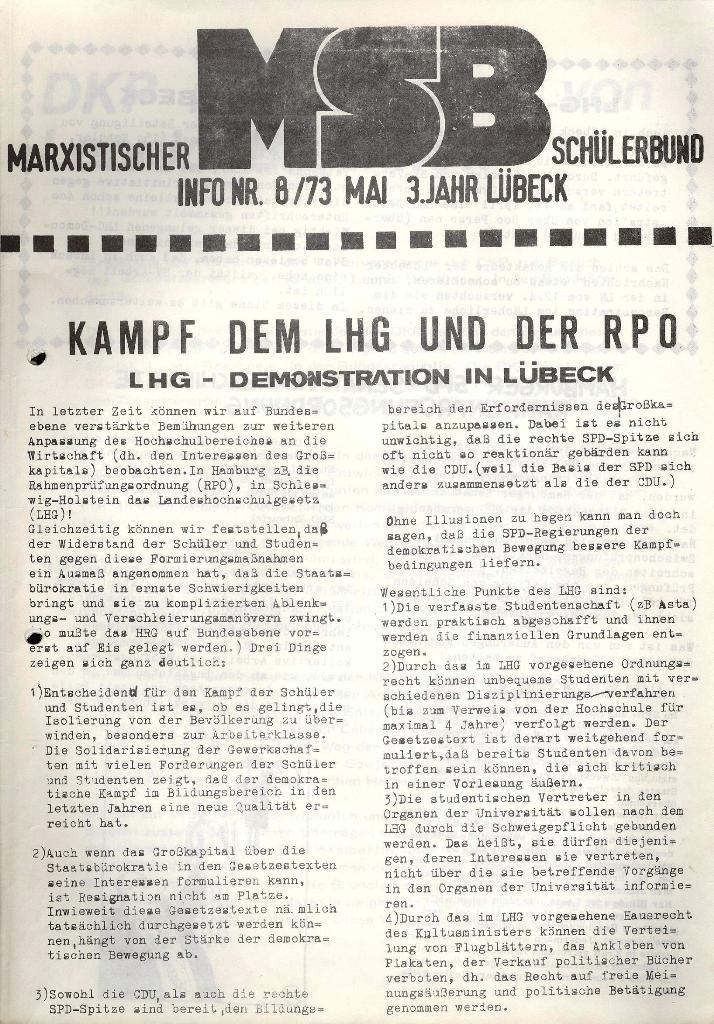 Marxistischer Schülerbund: Info, 3. Jg., Nr. 8, Lübeck, Mai 1973, Seite 1