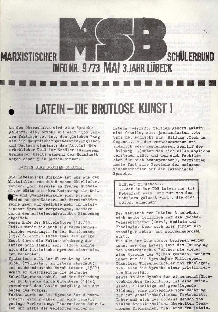 Marxistischer Schülerbund: Info, 3. Jg., Nr. 9, Lübeck, Mai 1973, Seite 1