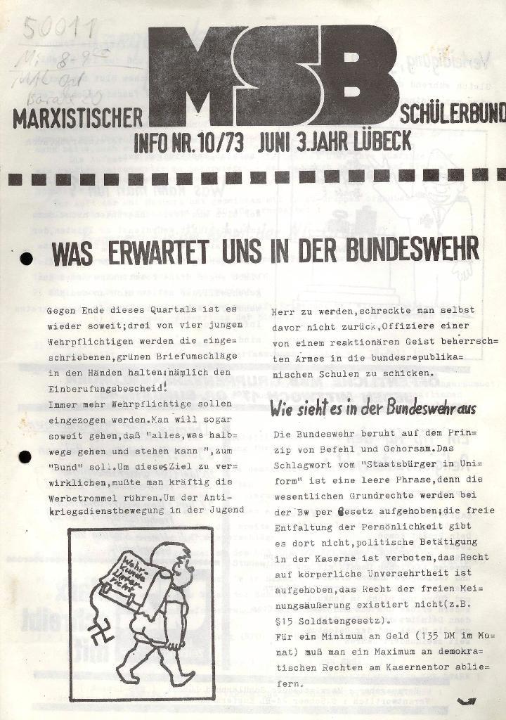 Marxistischer Schülerbund: Info, 3. Jg., Nr. 10, Lübeck, Juni 1973, Seite 1