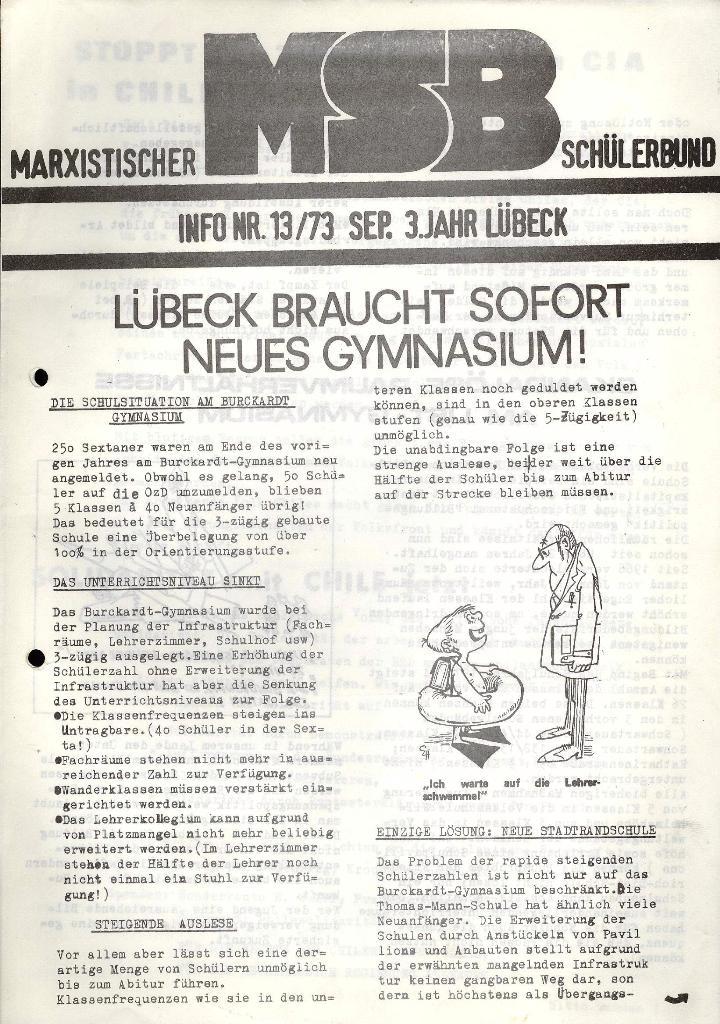 Marxistischer Schülerbund: Info, 3. Jg., Nr. 13, Lübeck, Sept. 1973, Seite 1