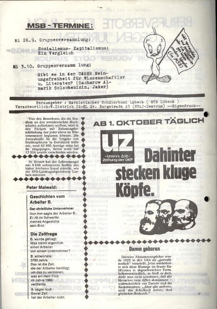 Marxistischer Schülerbund: Info, 3. Jg., Nr. 13, Lübeck, Sept. 1973, Seite 4