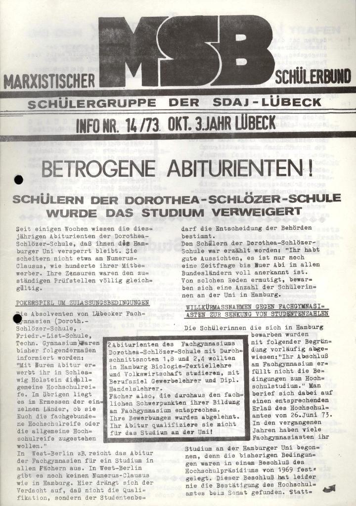 Marxistischer Schülerbund: Info, 3. Jg., Nr. 14, Lübeck, Okt. 1973, Seite 1