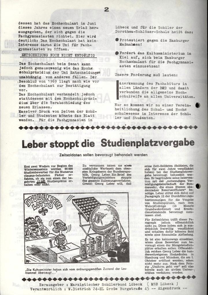 Marxistischer Schülerbund: Info, 3. Jg., Nr. 14, Lübeck, Okt. 1973, Seite 2