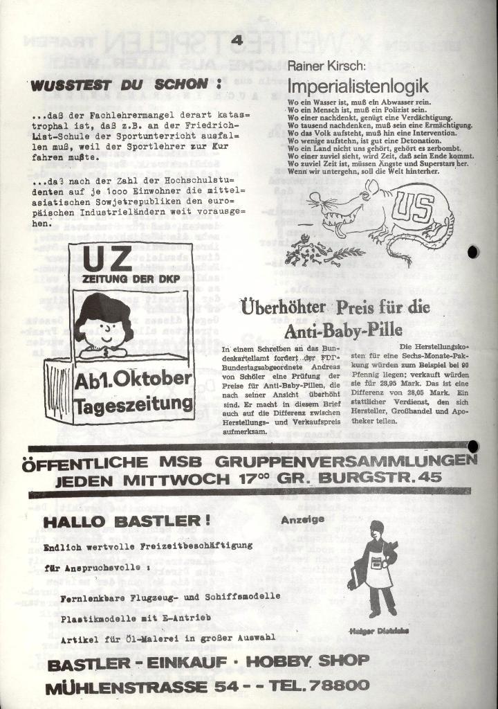 Marxistischer Schülerbund: Info, 3. Jg., Nr. 14, Lübeck, Okt. 1973, Seite 4