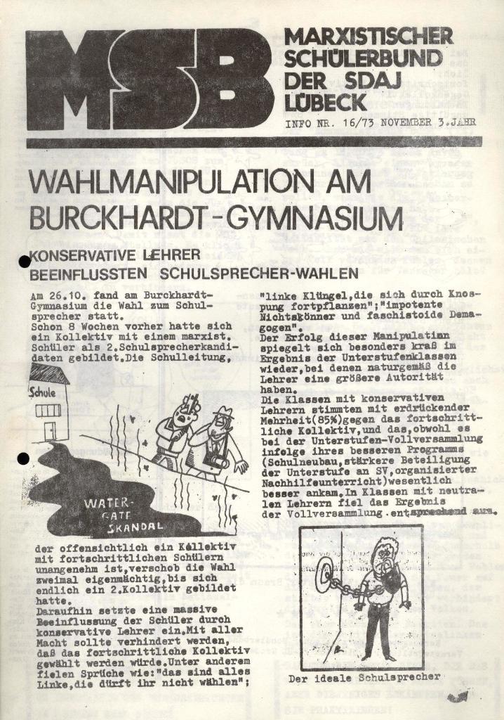 Marxistischer Schülerbund: Info, 3. Jg., Nr. 16, Lübeck, Nov. 1973, Seite 1
