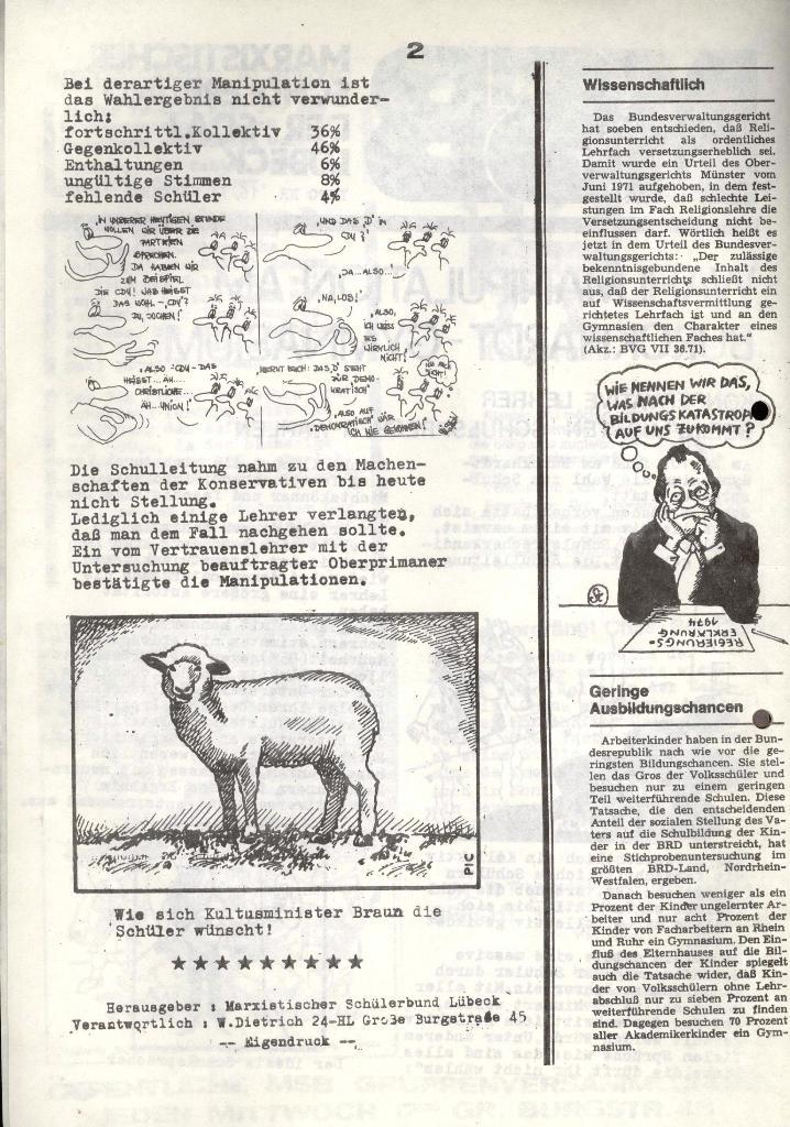 Marxistischer Schülerbund: Info, 3. Jg., Nr. 16, Lübeck, Nov. 1973, Seite 2