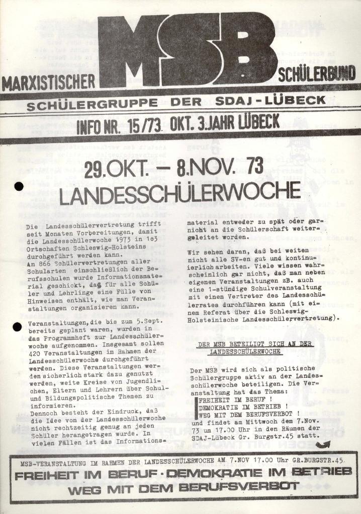 Marxistischer Schülerbund: Info, 3. Jg., Nr. 15, Lübeck, Okt. 1973, Seite 1