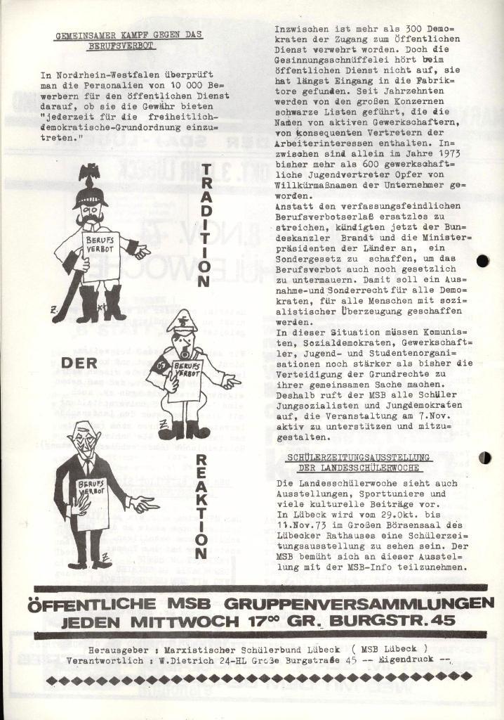 Marxistischer Schülerbund: Info, 3. Jg., Nr. 15, Lübeck, Okt. 1973, Seite 2