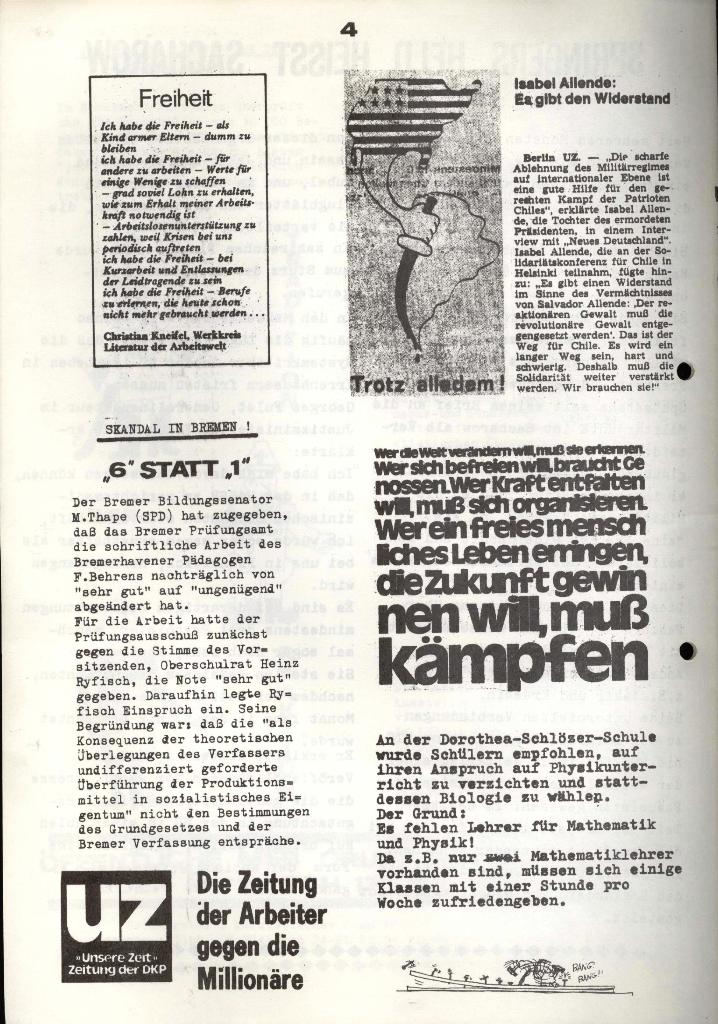 Marxistischer Schülerbund: Info, 3. Jg., Nr. 15, Lübeck, Okt. 1973, Seite 4