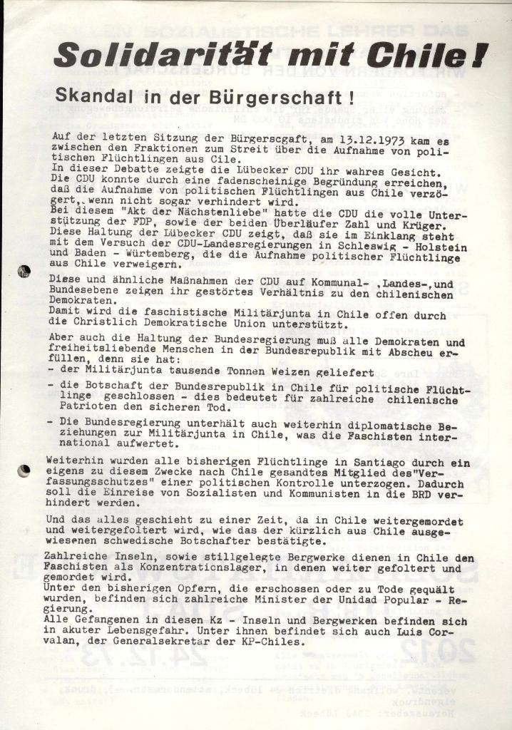 Marxistischer Schülerbund: Info, 3. Jg., Nr. 17, Lübeck, Dez. 1973, Belage, Seite 1