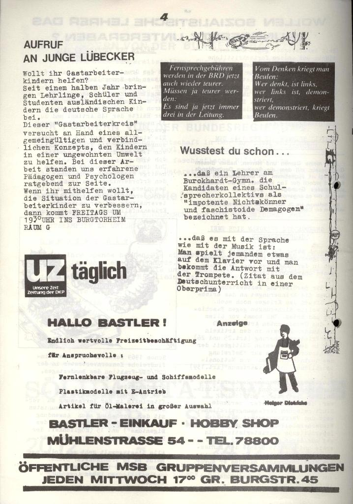 Marxistischer Schülerbund: Info, 3. Jg., Nr. 16, Lübeck, Nov. 1973, Seite 4