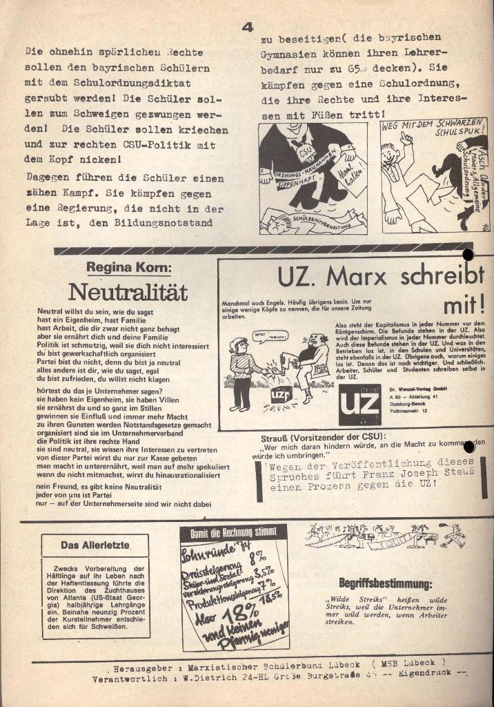 Marxistischer Schülerbund: Info, 3. Jg., Nr. 17, Lübeck, Dez. 1973, Seite 4