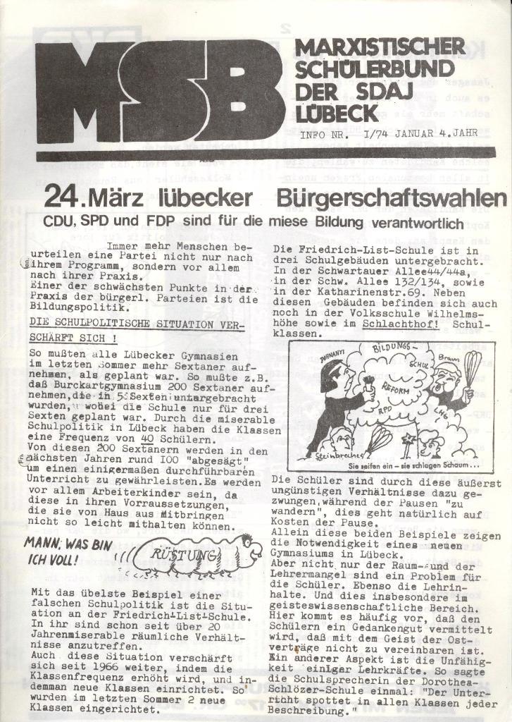 Marxistischer Schülerbund: Info, 4. Jg., Nr. 1, Lübeck, Jan. 1974, Seite 1