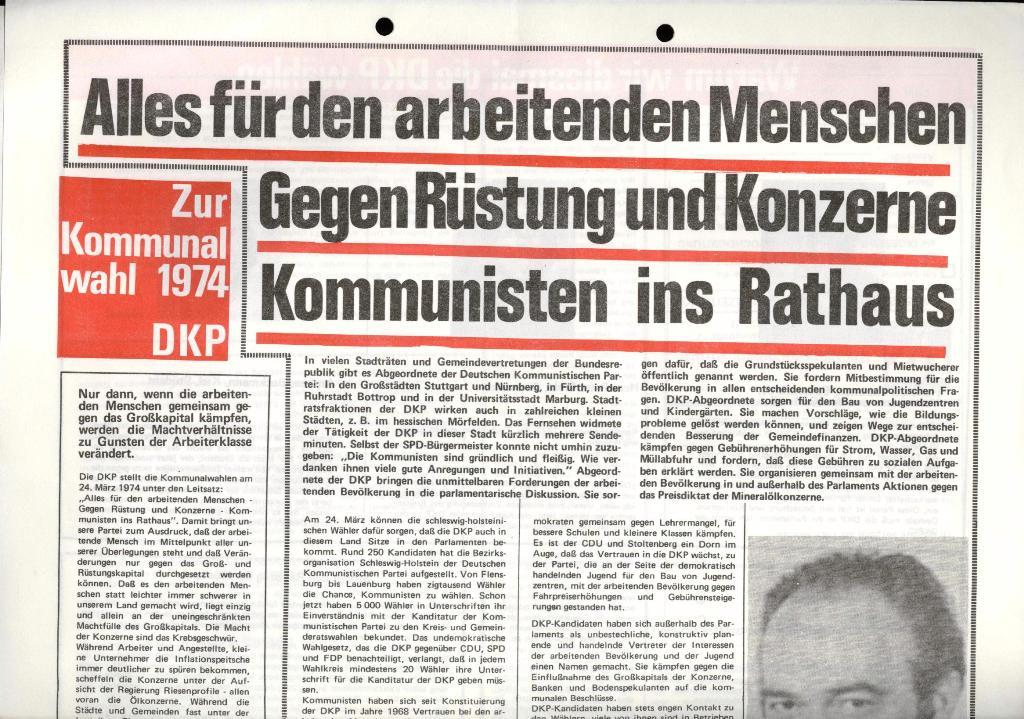 Marxistischer Schülerbund: Info, 4. Jg., Nr. 1, Lübeck, Jan. 1974, Beilage, Seite 1
