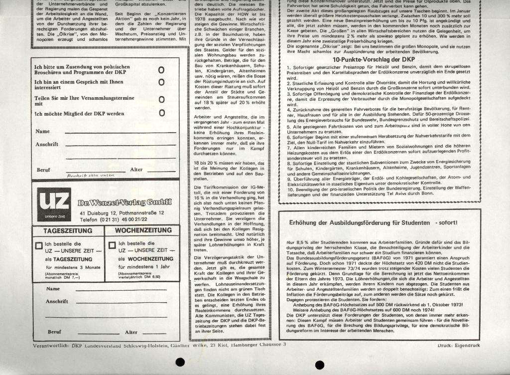 Marxistischer Schülerbund: Info, 4. Jg., Nr. 1, Lübeck, Jan. 1974, Beilage, Seite 4