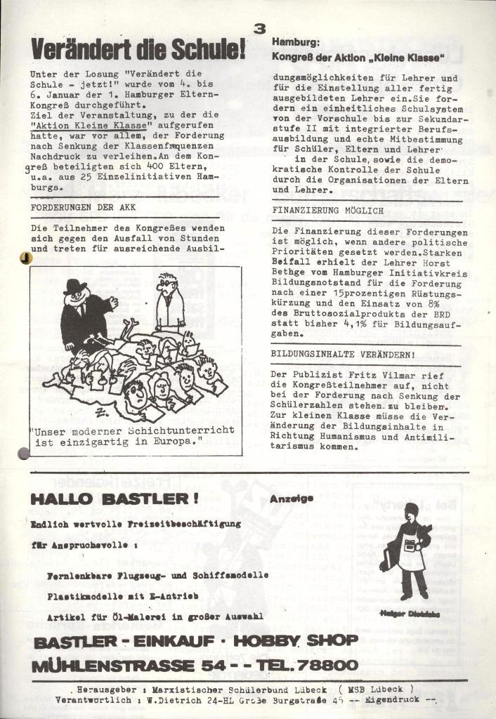Marxistischer Schülerbund: Info, 4. Jg., Nr. 1, Lübeck, Jan. 1974, Seite 3