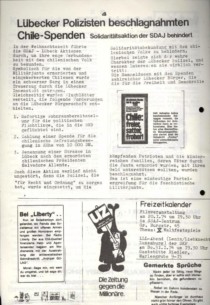 Marxistischer Schülerbund: Info, 4. Jg., Nr. 1, Lübeck, Jan. 1974, Seite 4
