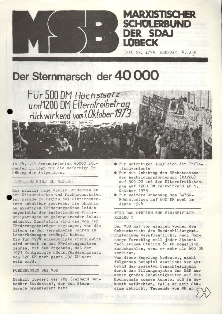 Marxistischer Schülerbund: Info, 4. Jg., Nr. 2, Lübeck, Feb. 1974, Seite 1