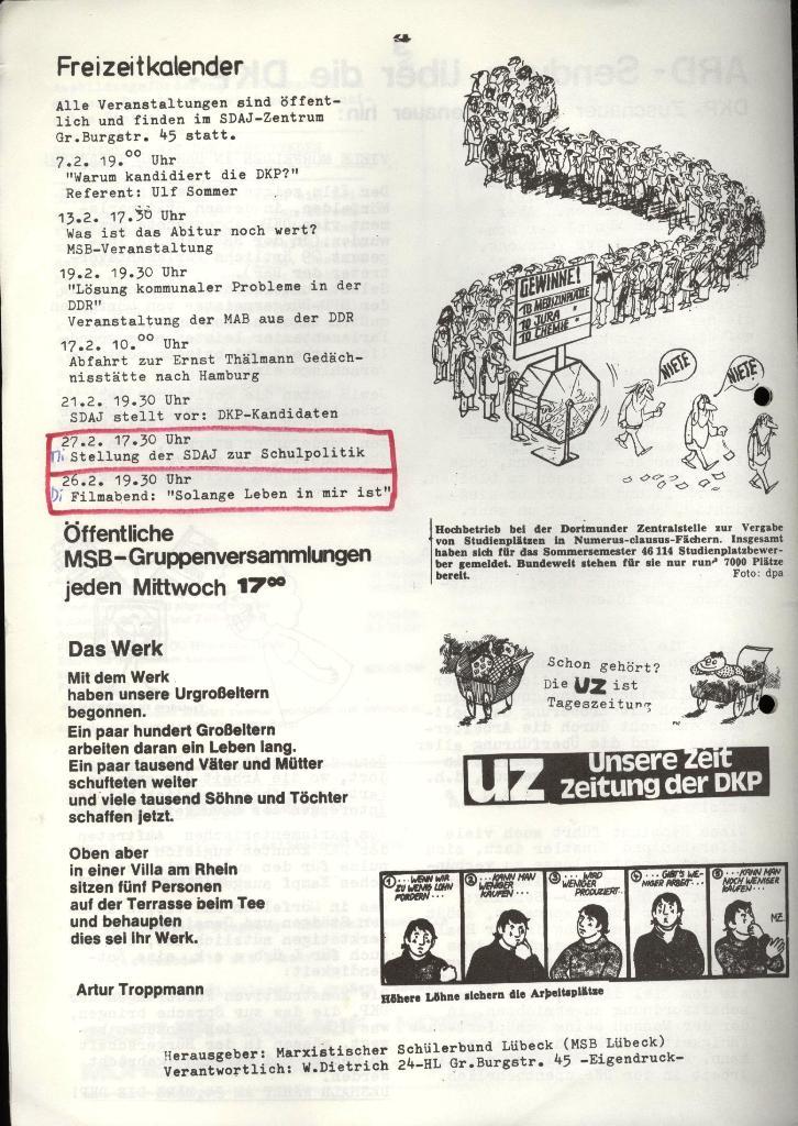 Marxistischer Schülerbund: Info, 4. Jg., Nr. 2, Lübeck, Feb. 1974, Seite 4