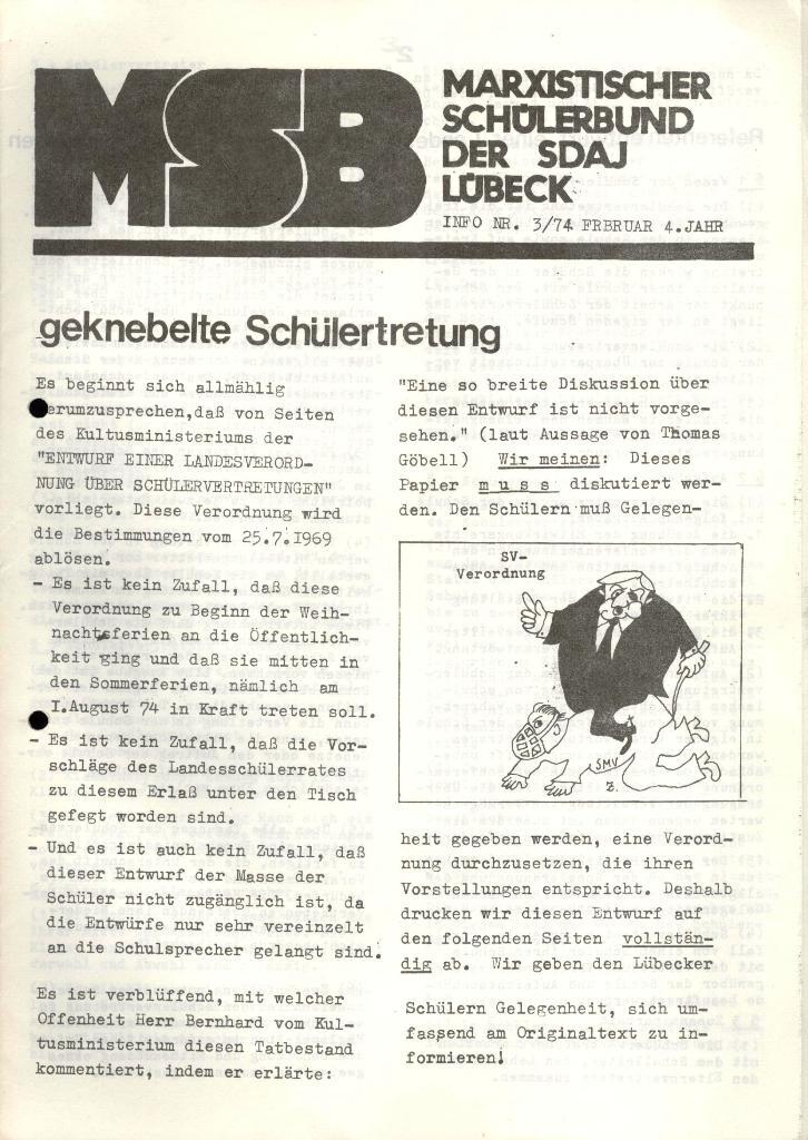 Marxistischer Schülerbund: Info, 4. Jg., Nr. 3, Lübeck, Feb. 1974, Seite 1