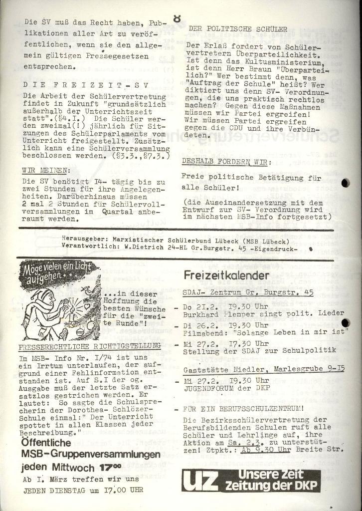Marxistischer Schülerbund: Info, 4. Jg., Nr. 3, Lübeck, Feb. 1974, Seite 8