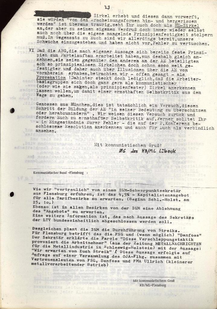 Erklärung des KB/ML Lübeck vom 17.10.1971