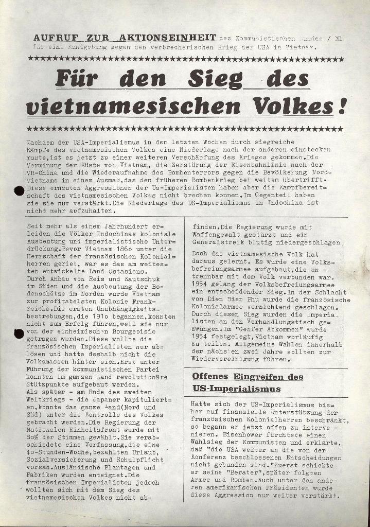 Aufruf zur Aktionseinheit, 16.5.1972 (Vorderseite)