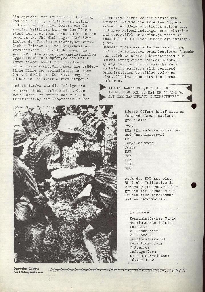 Aufruf zur Aktionseinheit, 16.5.1972 (Rückseite)