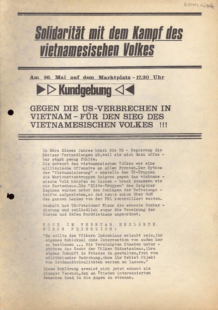 Aufruf zur Kundgebung, 23.5.1972 (Vorderseite)