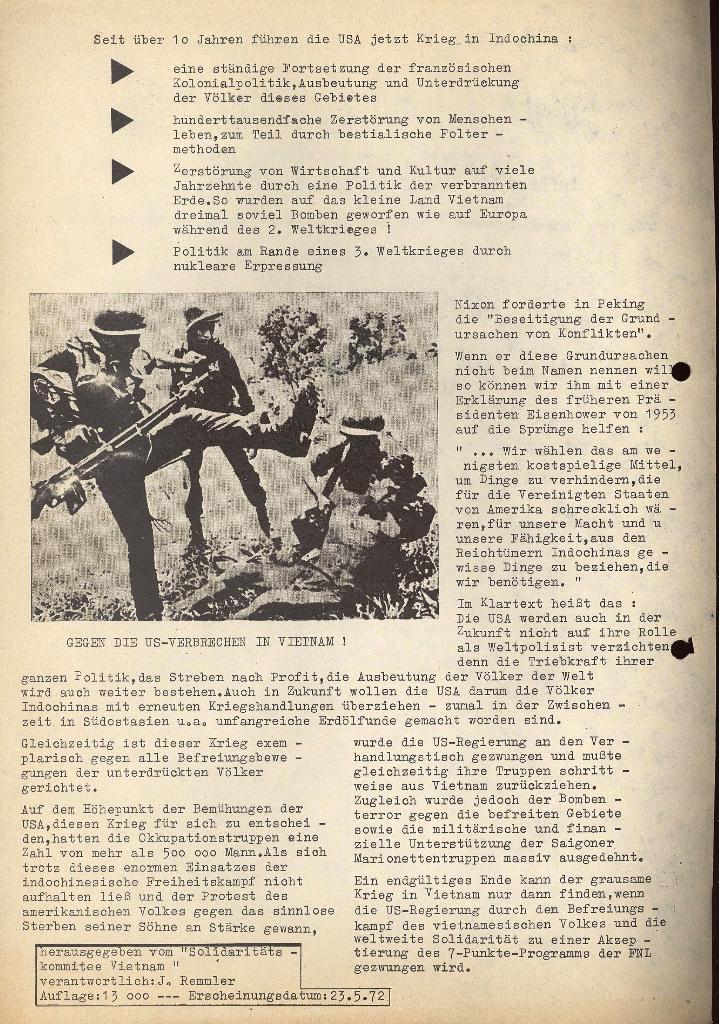 Aufruf zur Kundgebung, 23.5.1972 (Rückseite)