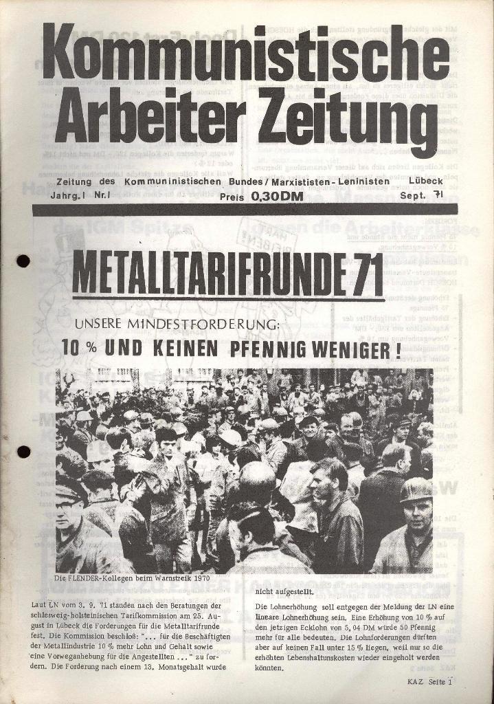 Kommunistische Arbeiterzeitung, Jg. 1, Nr. 1, Sept. 1971, Seite 1