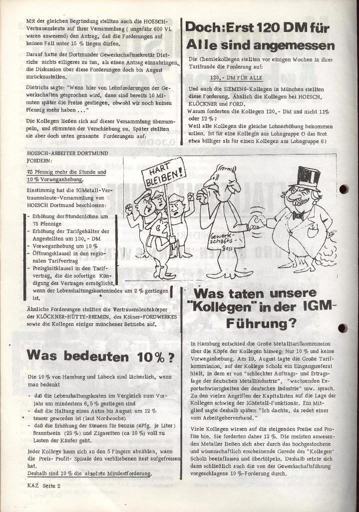 Kommunistische Arbeiterzeitung, Jg. 1, Nr. 1, Sept. 1971, Seite 2
