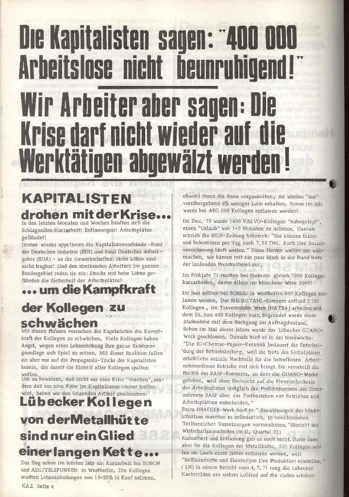 Kommunistische Arbeiterzeitung, Jg. 1, Nr. 1, Sept. 1971, Seite 4