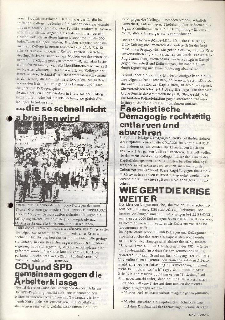 Kommunistische Arbeiterzeitung, Jg. 1, Nr. 1, Sept. 1971, Seite 5