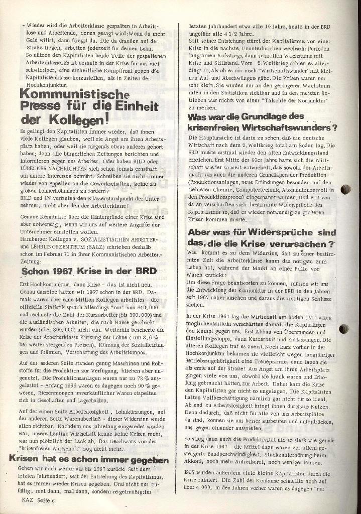 Kommunistische Arbeiterzeitung, Jg. 1, Nr. 1, Sept. 1971, Seite 6