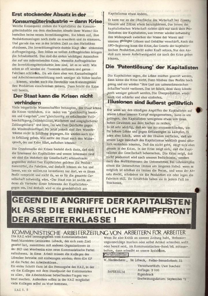 Kommunistische Arbeiterzeitung, Jg. 1, Nr. 1, Sept. 1971, Seite 8