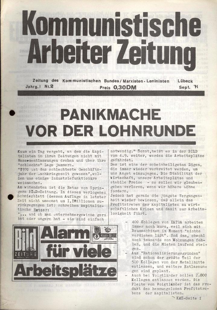 Kommunistische Arbeiterzeitung, Jg. 1, Nr. 2, Sept. 1971, Seite 1