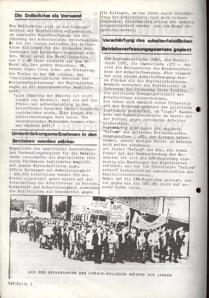 Kommunistische Arbeiterzeitung, Jg. 1, Nr. 2, Sept. 1971, Seite 2