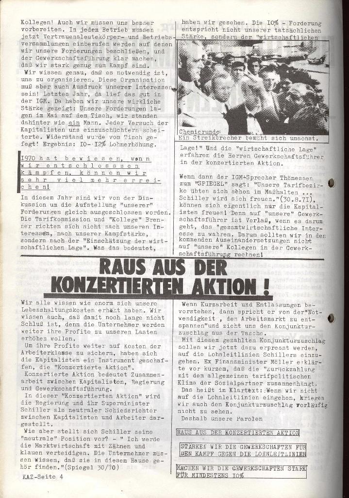 Kommunistische Arbeiterzeitung, Jg. 1, Nr. 2, Sept. 1971, Seite 4
