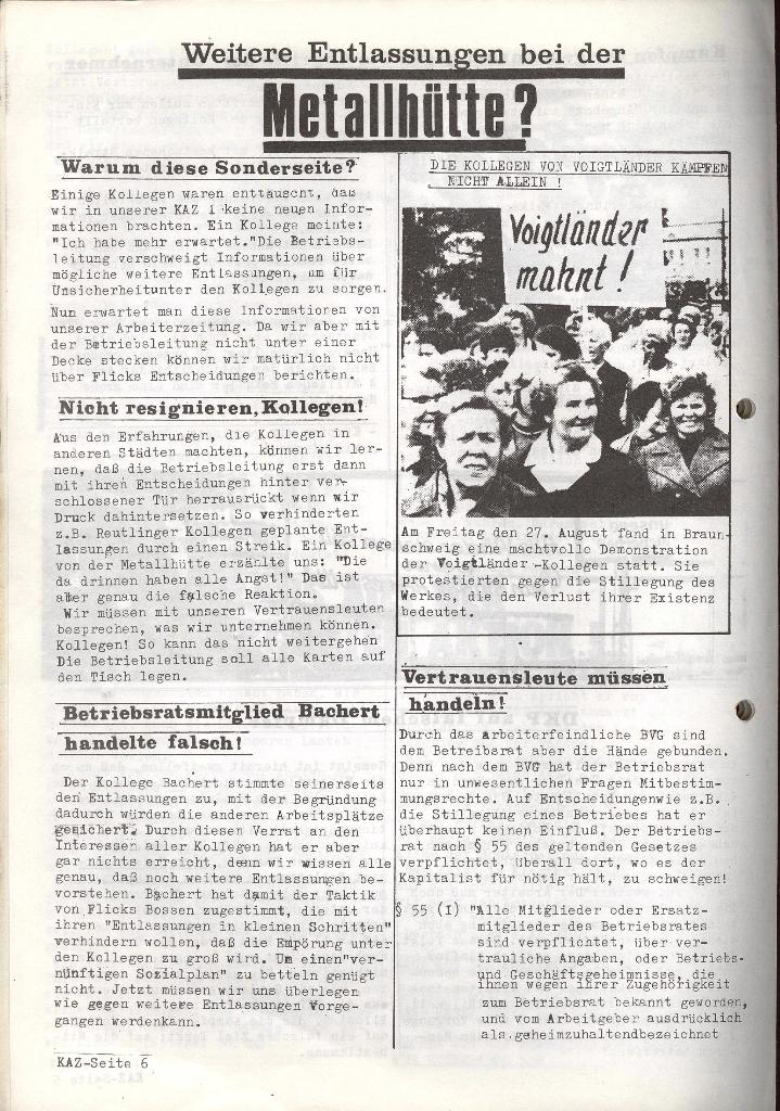 Kommunistische Arbeiterzeitung, Jg. 1, Nr. 2, Sept. 1971, Seite 6