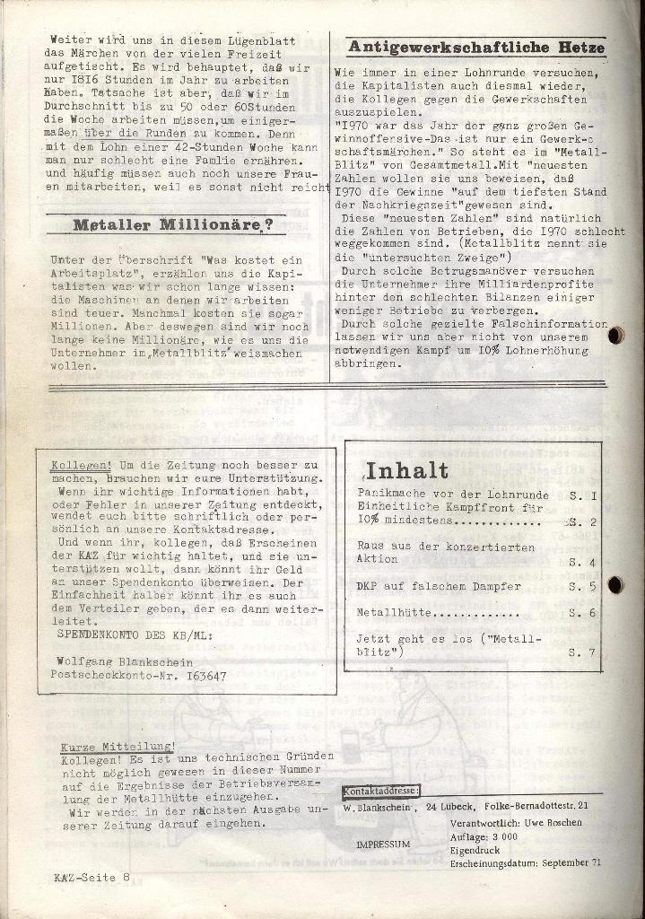 Kommunistische Arbeiterzeitung, Jg. 1, Nr. 2, Sept. 1971, Seite 8